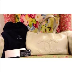Chanel Off White Caviar Leather Tote Bag Purse